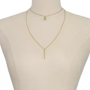 High low layered bar chain round pendant necklace